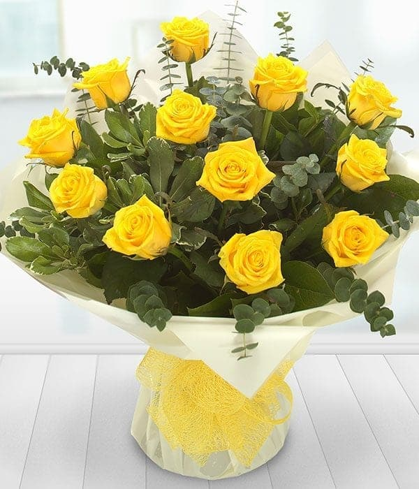 Image of a dozen yellow roses from Oasis Flowers, Bromsgrove Florist