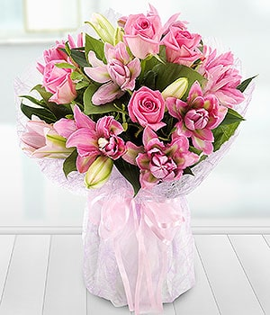 Image of Lavish Rose & Lilly Valentines Day Flowers from Oasis Flowers, Florist in Bromsgrove