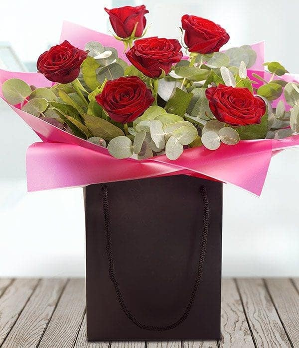 image of six red roses - valentines day flowers