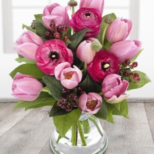 Image of think pink bouquet flowers for mother day